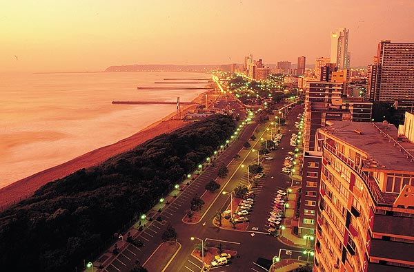 Sunny day Durban Golden Mile south africa